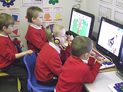 Children using school computers